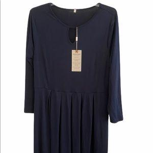 Navy Keyhole Pocketed Long Sleeve Dress Size 1X